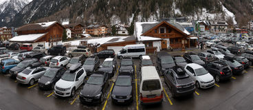 Outdoor parking at the ski resort Stock Images