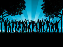 Outdoor party. Silhouettes of lots of people dancing outdoors Royalty Free Stock Photos