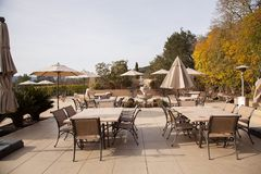 Outdoor party deck. The outdoor patio and kitchen of this luxury estate is a perfect place for a festive party Stock Image