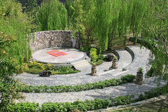 Outdoor party and excercise ampitheatre. Meeting area around ampitheatre for plays,stage drama and parties stock image