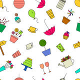 Outdoor party seamless pattern. Vector illustration. Birthday, garden, tea party line icons Stock Photography