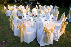 Outdoor party tables Royalty Free Stock Photos