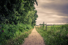 Outdoor path in cloudy weather Royalty Free Stock Images