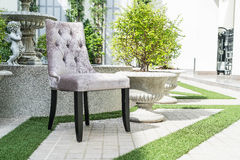 Outdoor patio with chair and table Stock Image