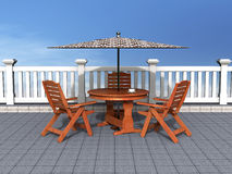 Outdoor patio with chairs and table. Good for summer, vacation, relaxation and outdoor concept Royalty Free Stock Image