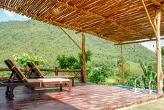Outdoor patio deck. And mountain royalty free stock images