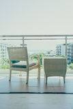 Outdoor patio deck. With table and chair furnitures decoration - Vintage filter stock photography