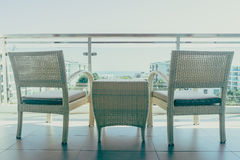 Outdoor patio deck. With table and chair furnitures decoration - Vintage filter stock image