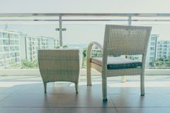 Outdoor patio deck. With table and chair furnitures decoration - Vintage filter stock images