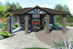 Outdoor patio garden pavilion, 3d render Stock Image