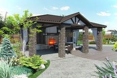 Outdoor patio garden pavilion, 3d render. Example of extension to the living space of home. 3d exterior with complete lighting Stock Images