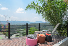 Outdoor patio with mountain view Stock Image