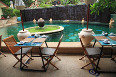 Outdoor patio near the swimming pool Royalty Free Stock Photography
