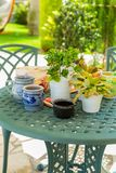 Outdoor patio with plants Royalty Free Stock Images