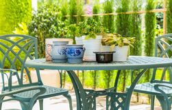 Outdoor patio with plants Stock Photo