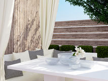 Outdoor patio seating area. Stock Photo