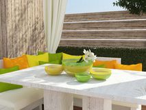 Outdoor patio seating area. Royalty Free Stock Images