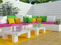 Outdoor patio seating area. Stock Photo