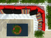 Outdoor patio seating area. Stock Photos