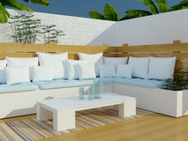 Outdoor patio seating area. Royalty Free Stock Image