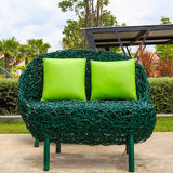 Outdoor patio seating are with nice Rattan sofa Stock Photos