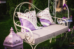 Outdoor patio seating are with nice sofa . Stock Photos