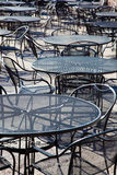 Outdoor patio tables Stock Photo