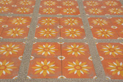 Outdoor pattern floor ,orange flower Royalty Free Stock Photography