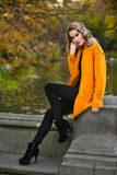Outdoor photo of beautiful romantic girl wearing autumn coat Stock Images