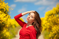 Outdoor photo of beautiful sexy girl Royalty Free Stock Images