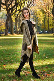 Outdoor photo of beautiful young woman posing in autumn  park Stock Images