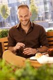 Outdoor photo of happy man with coffee Stock Photography