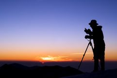 Outdoor photographer silhouette Stock Photos