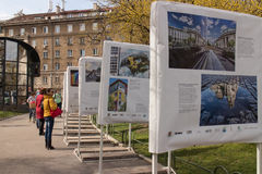Outdoor photography exhibition in Sofia. Outdoor photo exhibition with landmarks of Sofia, Bulgaria Stock Photography