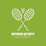 Outdoor physical activity vector logo design template. Modern linear branding element for healthy lifestyle company  Stock Photos