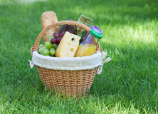 Outdoor picnic basket on green lawn Stock Image
