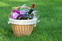 Outdoor picnic basket with wine on lawn Stock Photography
