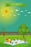 Outdoor picnic in garden stock illustration