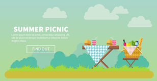 Outdoor picnic in park banner. Outdoor picnic in park vector flat style illustration. Table covered with tartan cloth with chairs. Hamburgers and drinks on the royalty free illustration