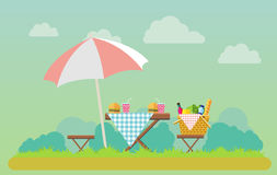 Outdoor picnic in park illustration. Outdoor picnic in park vector flat style illustration. Table covered with tartan cloth with chairs and umbrella. Hamburgers Stock Photography
