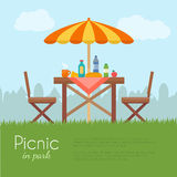 Outdoor picnic in park. stock illustration