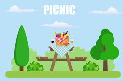 Outdoor picnic in park. Table covered with tartan cloth. Picnic basket filled with food on the chair. Vector illustration in flat style vector illustration