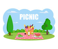 Outdoor picnic in park. Table covered with tartan cloth. Picnic basket filled with food on the chair. Vector illustration in flat style royalty free illustration