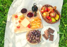 Outdoor picnic setting with red wine, cheese, fruits and cakes. Stock Images