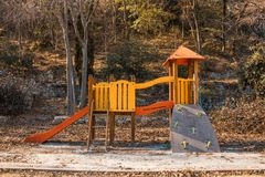 Outdoor playground for children. with slide and climbing slide Stock Photos