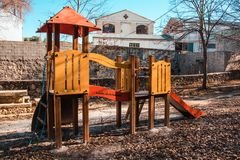 Outdoor playground for children. with slide and climbing slide Stock Images
