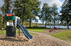 Outdoor playground near the lake Royalty Free Stock Image