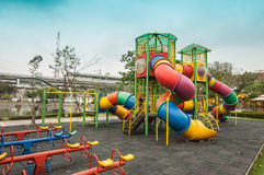 Outdoor playground in the park Stock Image