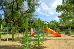 Outdoor playground on public park Royalty Free Stock Photo