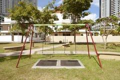 Swing Set. Outdoor playground swing set in Nova Scotia royalty free stock photo
